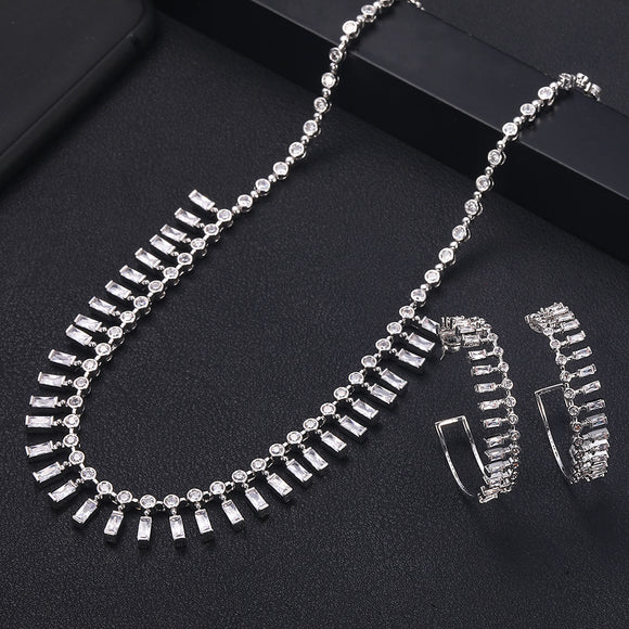 Matinee Crystal Cubic Zirconia Necklace Earrings Jewellery Set - Bhe Accessories