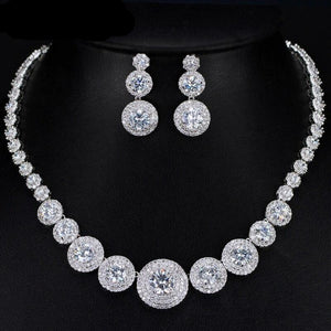 Gorgeous Micro Inlay Full Round Cubic Zirconia Necklace Earring Jewellery Set - Bhe Accessories