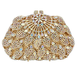 Golden AB Crystal Stones Luxury Clutch Purse - Bhe Accessories