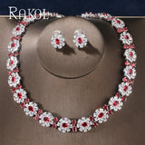 Floral Cubic Zirconia Two Pieces Jewellery Set - Bhe Accessories