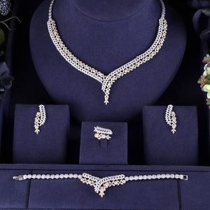 2 Tone Gold / Silver Bridal Micro paved Cubic Zirconia 4 Piece Jewelry Sets - Bhe Accessories