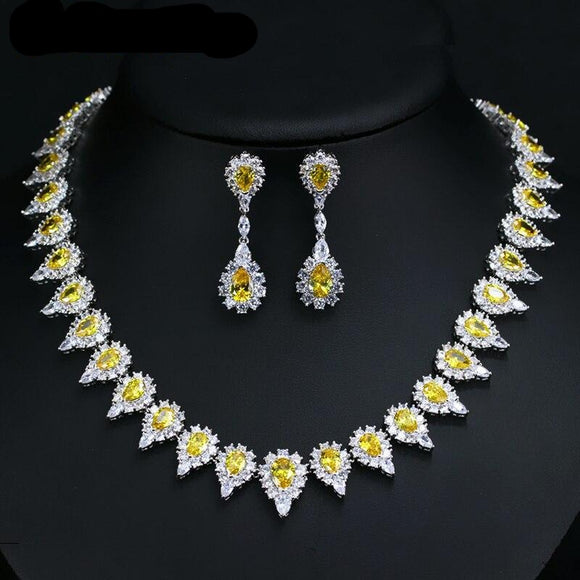 Pear  Drop Yellow Crystal  Cubic Zirconia Necklace Earring Jewellery Set - Bhe Accessories