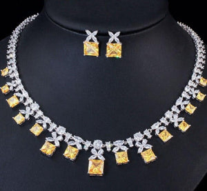 Princess Cut Yellow Cubic Zirconia Stone Necklace Earring Jewellery Set - Bhe Accessories