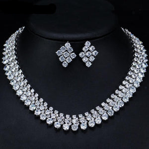 Luxury Cubic Zirconia Necklace Earring Jewellery Set - Bhe Accessories