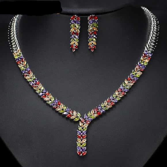 Elegant Cubic Zirconia Stone Choker Necklace Earring Jewellery Set - Bhe Accessories