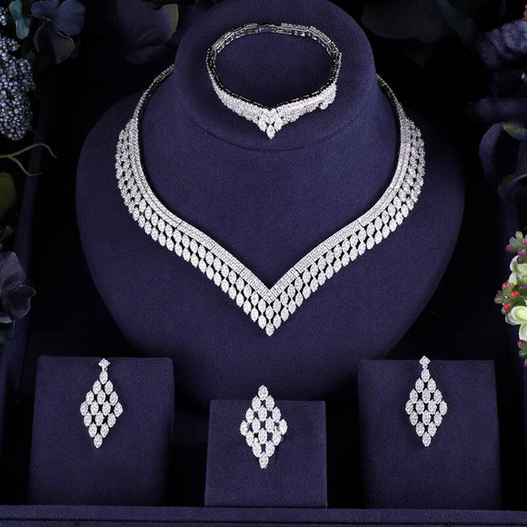 Bridal V Shaped 4 Piece Jewelry Sets (Platinum Plated White Resizable) - Bhe Accessories