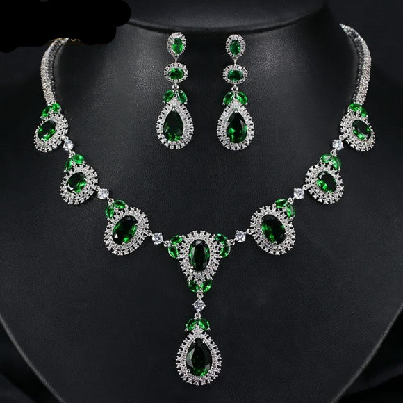 Round Big Crystal Drop Cubic Zirconia Green Necklace Earring Jewellery Set - Bhe Accessories