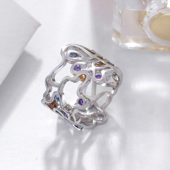 Hollow Crystal Ring Jewellery - Bhe Accessories