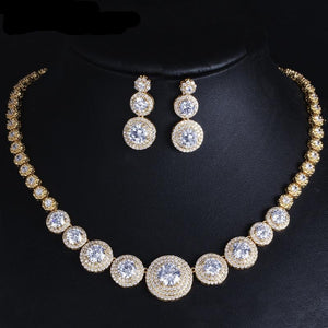 Gorgeous Gold Color Filled Cubic Zirconia Necklace Earring Jewellery Set - Bhe Accessories