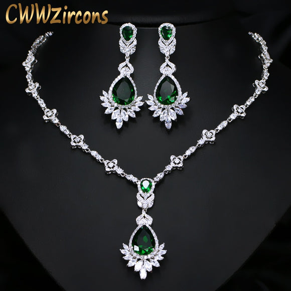 Exquisite Green Costume Cubic Zirconia Jewellery Set - Bhe Accessories