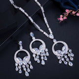 Noble Yellow Cubic Zirconia Stone Tassel  Necklace Earring Jewellery Set - Bhe Accessories