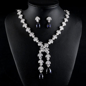 Leaf Shape Cubic Zirconia Necklace Earrings Two Pieces Jewellery Set - Bhe Accessories