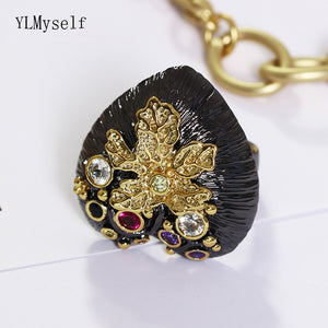 Hearts Design Black Womens Ring - Bhe Accessories