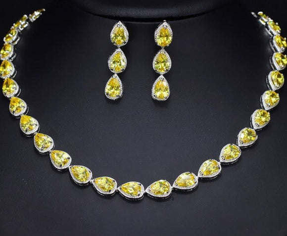 Dazzling Yellow Water Drop Cubic Zirconia  Choker Necklace And Earring Jewellery Set - Bhe Accessories