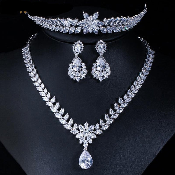 Luxury Cubic Zirconia Bridal Necklace Earring Tiaras Jewellery Set - Bhe Accessories