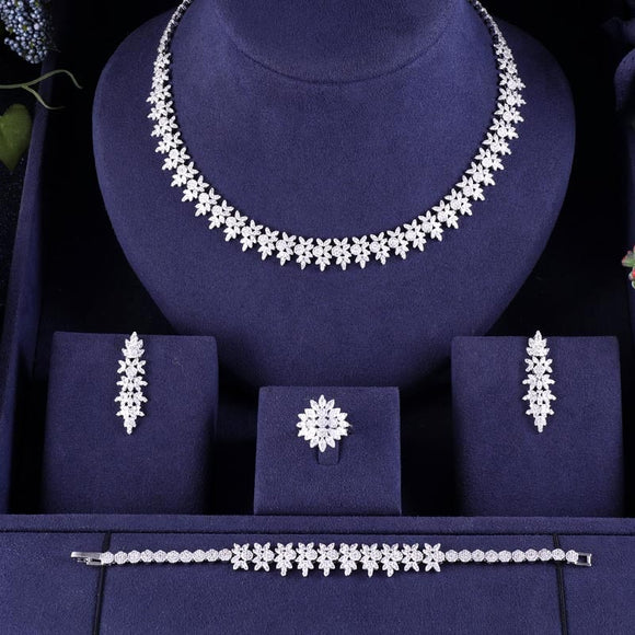 Full Crystal Cubic Zirconia Necklace Earring Bracelet Ring Jewellery Set - Bhe Accessories