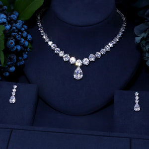 Clear Waterdrop Cubic Zirconia 2 Piece Jewellery Set - Bhe Accessories