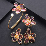 Flowery Cubic Zirconia Bangle Earring And Ring Set - Bhe Accessories
