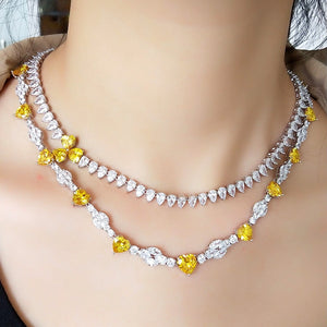 Hearts Yellow AAA Cubic Zirconia Dangle Earrings Necklace Jewellery Set - Bhe Accessories