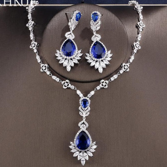 Big Water Drop Pendant Necklace Earrings Jewellery Set - Bhe Accessories