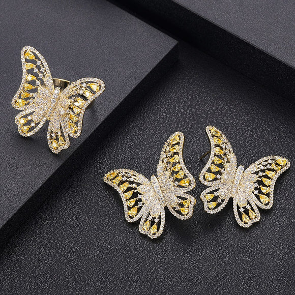 Butterfly AAA Cubic Zirconia  Earrings Ring Set - Bhe Accessories