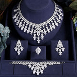 Sparking Cubic Zirconia  Earring Necklace Bracelet Ring Jewellery Set - Bhe Accessories