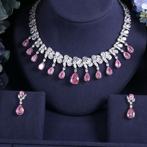 Crystal Pink Cubic Zirconia Necklace Earring Jewellery Set - Bhe Accessories