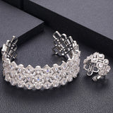 Crystal Cuff Cubic Zirconia Bangle Ring Set - Bhe Accessories