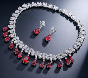 Marquise Round Cubic Zirconia Necklace Earring Jewellery Set - Bhe Accessories