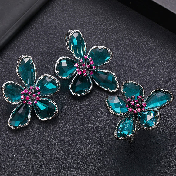 Green AAA Zirconia Round Flower Shape Earrings Ring set - Bhe Accessories