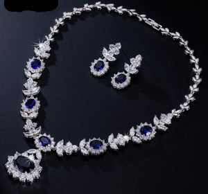 Dark Blue AAA Cubic Zirconia Necklace Earrings Jewellery Set - Bhe Accessories