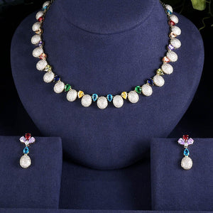 Crystal Ball Cubic Zirconia Necklace Earring Jewellery Set - Bhe Accessories