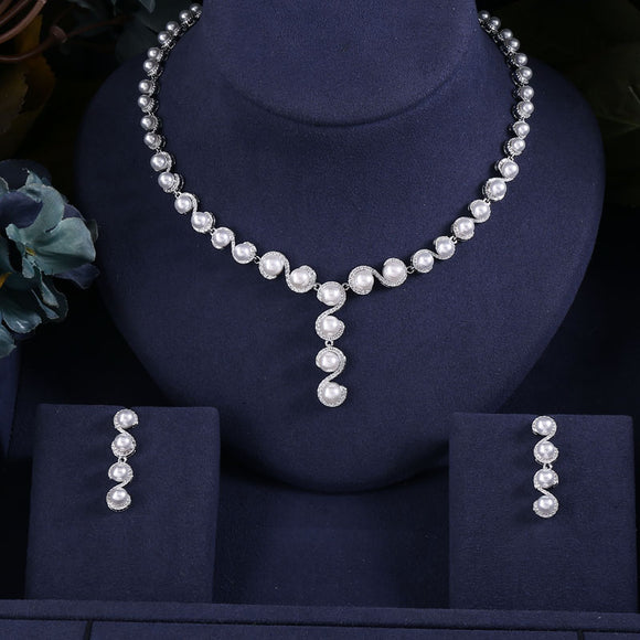 Pearldrop S-shaped Crystal Cubic Zirconia Necklace Earrings Jewellery Set - Bhe Accessories