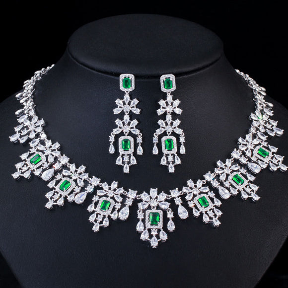 Green Cubic Zirconia Necklace Earrings Jewellery Set - Bhe Accessories