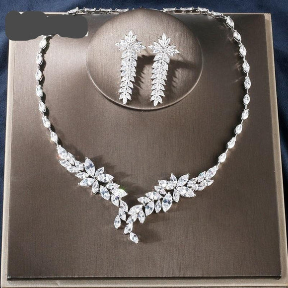 Vintage Cubic Zirconia Necklace Earrings  Two Pieces Jewellery Set - Bhe Accessories