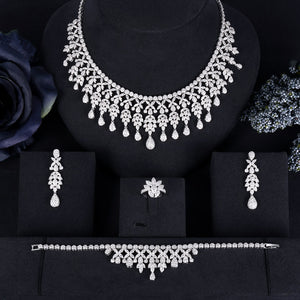 Full Crystal Cubic Zirconia Floral 4 Pieces Jewellery Set - Bhe Accessories