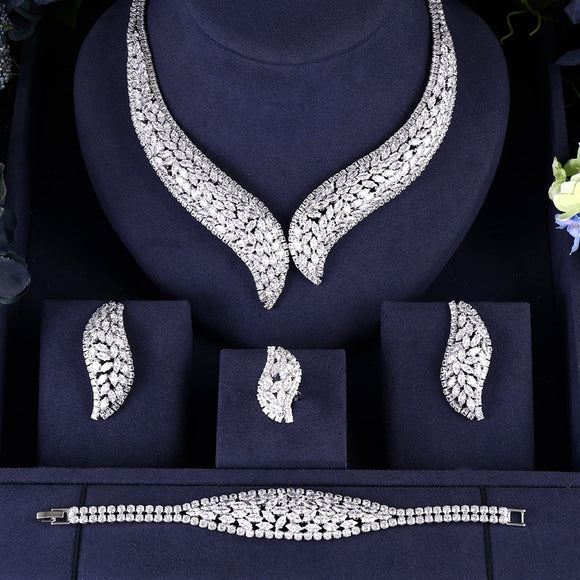 Clasp Shaped Cubic Zirconia 4 Pieces Jewellery Set - Bhe Accessories