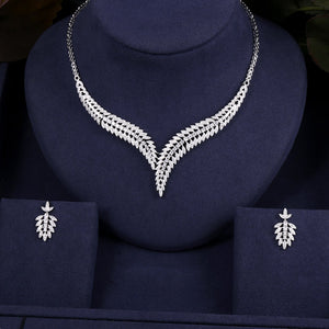 Leaf Crystal Necklace Earring Jewellery Set - Bhe Accessories