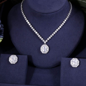 Vintage Round Crystal Cubic Zirconia Necklace Earring Jewellery Set - Bhe Accessories