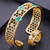 Trendy Roundshape Cubic Zirconia Bangle Ring Set - Bhe Accessories