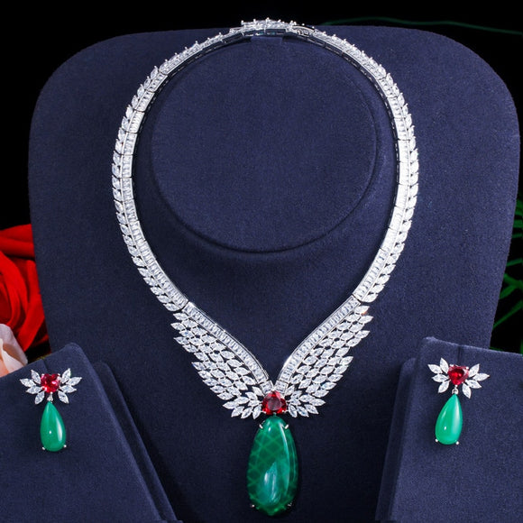 Green Emerald Topaz Cubic Zirconia Necklace Earrings Jewellery Set - Bhe Accessories