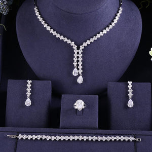 Crystal Tassel AAA Cubic Zirconia Necklace Earring Bracelet Ring Jewellery Set - Bhe Accessories