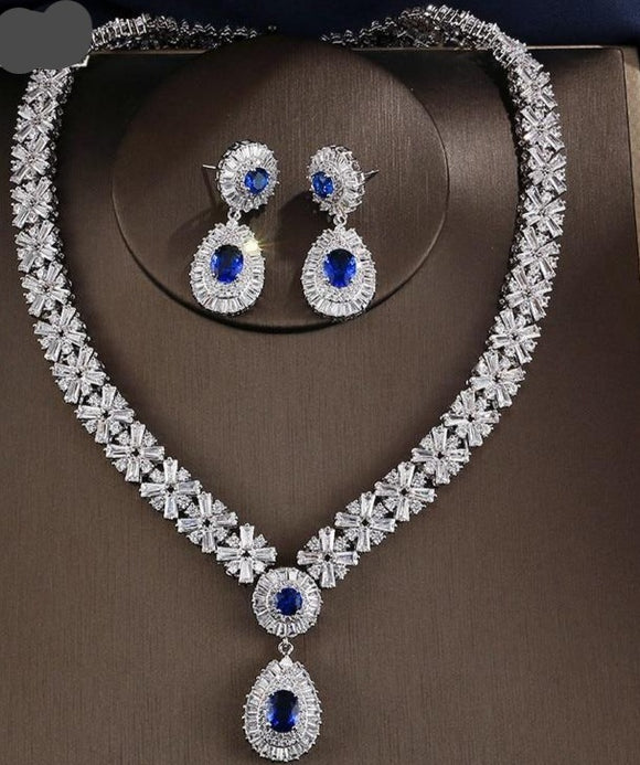 Crystal Cubic Zirconia Necklace Earring  Two Pieces Jewellery Set - Bhe Accessories