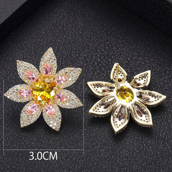 Flower Shaped AAA Cubic Zirconia Earrings - Bhe Accessories