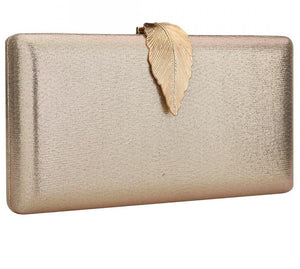 Metallic Finish Leaf Clutch - Bhe Accessories
