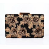 Black and Champagne 3D Floral Clutch - Bhe Accessories