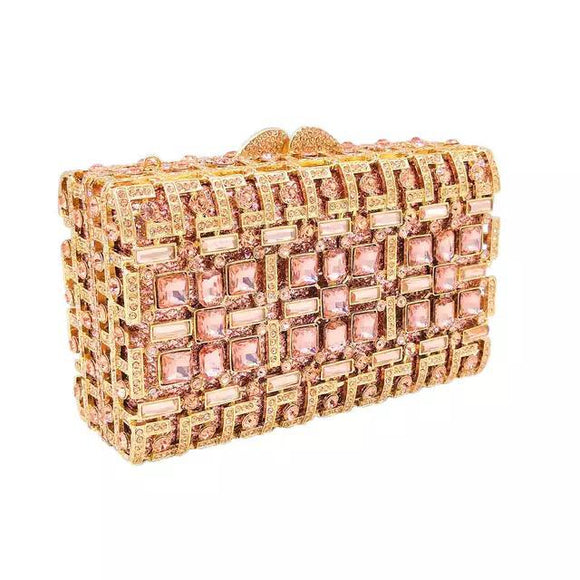 Full Crystal Clutch with Gold Metal Casing and Champagne Stones - Bhe Accessories