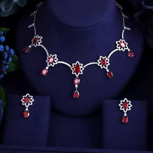 Sunflower Cubic Zirconia Necklace and Earring Jewelry Set in Clear, Blue, Green and Red - Bhe Accessories