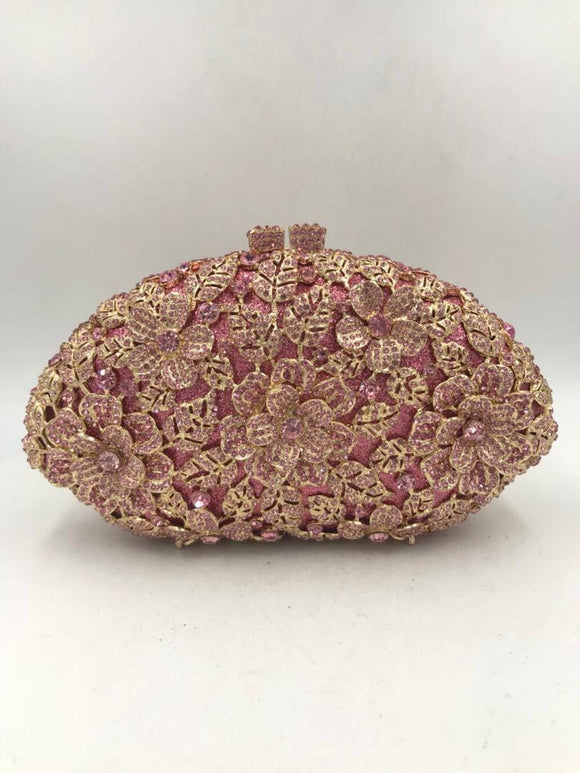 Pink Crystal Clutch Purse - Bhe Accessories