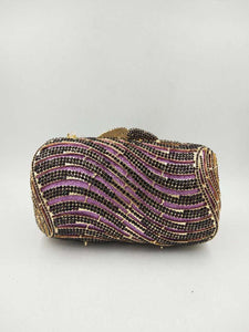 Purple Crystal Clutch Purse - Bhe Accessories